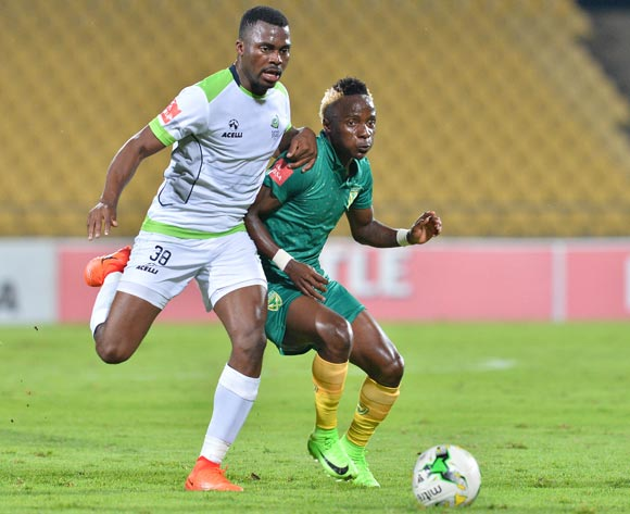 Kudakwashe Mahachi of Golden Arrows challenged by Enocent Mkhabela of Platinum Stars during the Absa Premiership 2016/17 match between Platinum Stars and Golden Arrows at Royal Bafokeng Stadium, South Africa on 07 March 2017 ©Samuel Shivambu/BackpagePix