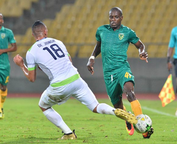 Lerato Lamola of Golden Arrows challenged by Ryan De Jongh of Platinum Stars during the Absa Premiership 2016/17 match between Platinum Stars and Golden Arrows at Royal Bafokeng Stadium, South Africa on 07 March 2017 ©Samuel Shivambu/BackpagePix