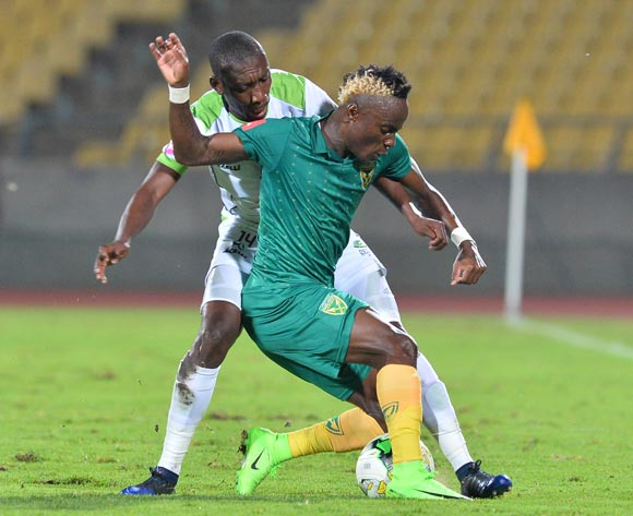 Kudakwashe Mahachi of Golden Arrows challenged by Tintswalo Tshabalala of Platinum Stars during the Absa Premiership 2016/17 match between Platinum Stars and Golden Arrows at Royal Bafokeng Stadium, South Africa on 07 March 2017 ©Samuel Shivambu/BackpagePix
