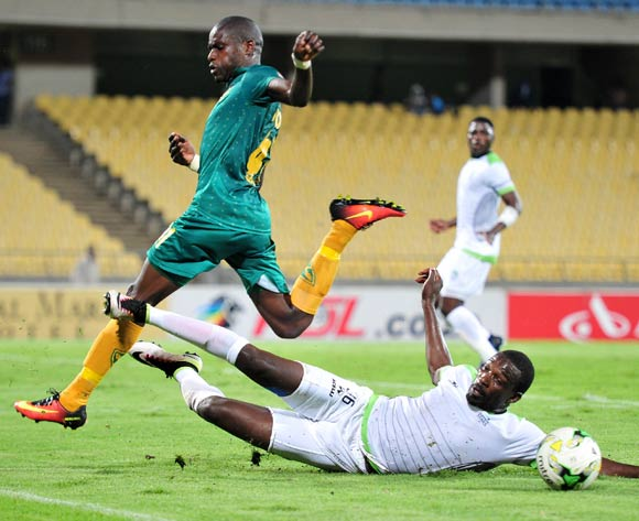 Lerato Lamola of Golden Arrows challenged by Willem Mwedihanga of Platinum Stars during the Absa Premiership 2016/17 match between Platinum Stars and Golden Arrows at Royal Bafokeng Stadium, South Africa on 07 March 2017 ©Samuel Shivambu/BackpagePix