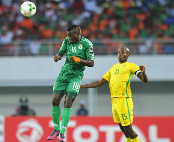 Fashion Sakala of Zambia clears ball from Tercious Malepe of South Africa during the 2017 Total Zambia U-20 African Cup of Nations Zambia match between Zambia and South Africa at Heroes National Stadium, Lusaka Zambia on 08 March 2017 ©Muzi Ntombela/BackpagePix