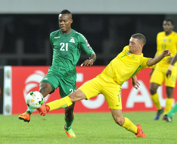 Boyd Musonda of Zambia challenged by Grant Margeman of South Africa during the 2017 Total Zambia U-20 African Cup of Nations Zambia match between Zambia and South Africa at Heroes National Stadium, Lusaka Zambia on 08 March 2017 ©Muzi Ntombela/BackpagePix