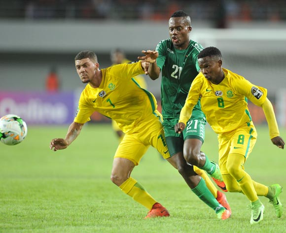 Sibongakonke Mbatha and Grant Margeman of South Africa challenged by Boyd Musonda of Zambia during the 2017 Total Zambia U-20 African Cup of Nations Zambia match between Zambia and South Africa at Heroes National Stadium, Lusaka Zambia on 08 March 2017 ©Muzi Ntombela/BackpagePix
