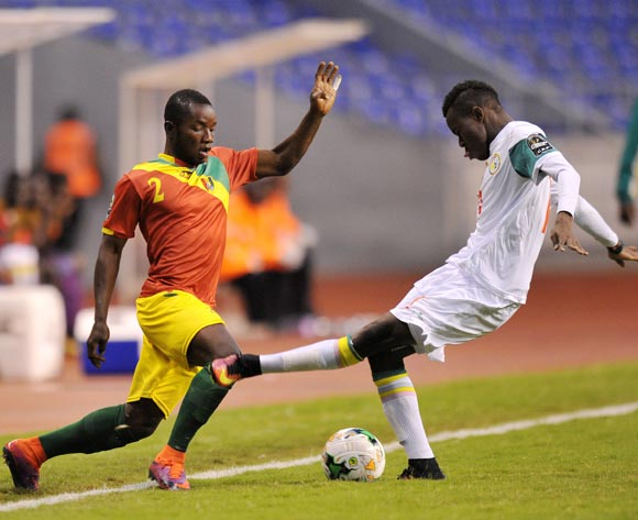 Salif Sylla of Guinea challenged by Ibrahima Ndiaye of Senegal during the 2017 Total Zambia U-20 African Cup of Nations Zambia match between Senegal and Guinea at Levy Mwanawasa Stadium, Lusaka Zambia on 09 March 2017 ©Muzi Ntombela/BackpagePix