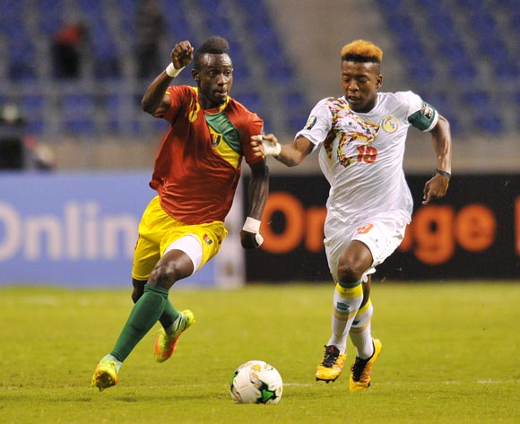 Alseny Soumah of Guinea challenged by Cheikh Kane Bamba of Senegal during the 2017 Total Zambia U-20 African Cup of Nations Zambia match between Senegal and Guinea at Levy Mwanawasa Stadium, Lusaka Zambia on 09 March 2017 ©Muzi Ntombela/BackpagePix