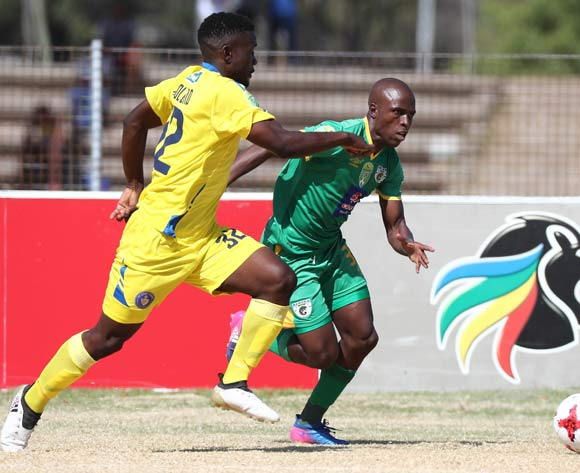 Mxolisi Kunene of Baroka FC evades challenge from Katlego Molomo of FC Cape Town during the 2017 Nedbank Cup Last 32 football match between FC Cape Town and Baroka FC at NNK Stadium, Cape Town on 11 March 2017 ©Chris Ricco/BackpagePix