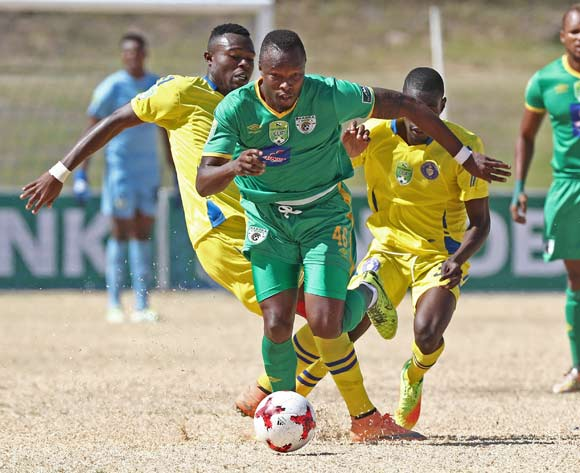 Letladi Madubanya of Baroka FC gets away from Ranga Chivaviro of FC Cape Town (l) and Temptation Chiwunga of FC Cape Town (r) during the 2017 Nedbank Cup Last 32 football match between FC Cape Town and Baroka FC at NNK Stadium, Cape Town on 11 March 2017 ©Chris Ricco/BackpagePix
