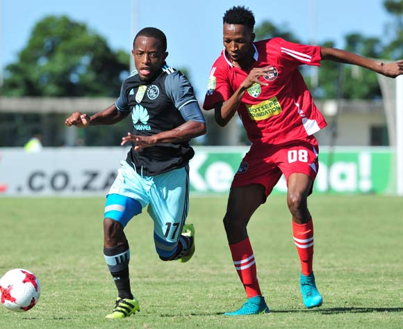 Neo Makua of Ajax Cape Town challenged by Thaphelo Aphane of Kwadukuza United during the 2017 Nedbank Cup match between Kwadukuza United and Ajax Cape Town at Sugar Ray Xulu Stadium, South Africa on 11 March 2017 ©Samuel Shivambu/BackpagePix