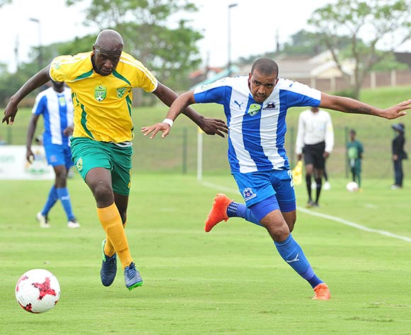 Deolin Mekoa of Maritzburg United challenged by Musa Bilankulu of Golden Arrows during the 2017 Nedbank Cup match between Golden Arrows and Maritzburg United at the Prince Magogo Stadium, South Africa on 12 March 2017 ©Samuel Shivambu/BackpagePix