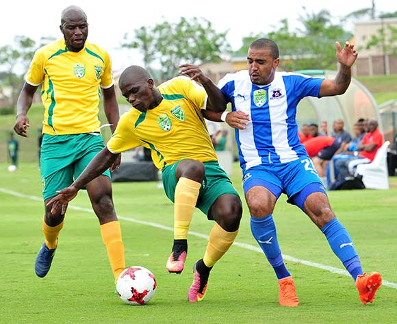 Siyabonga Dube of Golden Arrows challenged by Deolin Mekoa of Maritzburg United during the 2017 Nedbank Cup match between Golden Arrows and Maritzburg United at the Prince Magogo Stadium, South Africa on 12 March 2017 ©Samuel Shivambu/BackpagePix