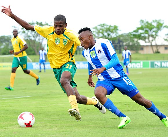 Lebohang Maboe of Maritzburg United challenged by Nkanyiso Mngwengwe of Golden Arrows during the 2017 Nedbank Cup match between Golden Arrows and Maritzburg United at the Prince Magogo Stadium, South Africa on 12 March 2017 ©Samuel Shivambu/BackpagePix
