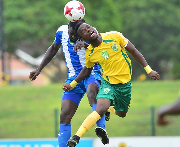 Knox Mutizwa of Golden Arrows challenged by Denis Weidlich of Maritzburg United during the 2017 Nedbank Cup match between Golden Arrows and Maritzburg United at the Prince Magogo Stadium, South Africa on 12 March 2017 ©Samuel Shivambu/BackpagePix
