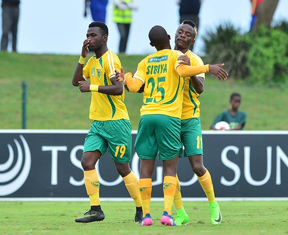 Kudakwashe Mahachi of Golden Arrows celebrates his goal with his teammates during the 2017 Nedbank Cup match between Golden Arrows and Maritzburg United at the Prince Magogo Stadium, South Africa on 12 March 2017 ©Samuel Shivambu/BackpagePix