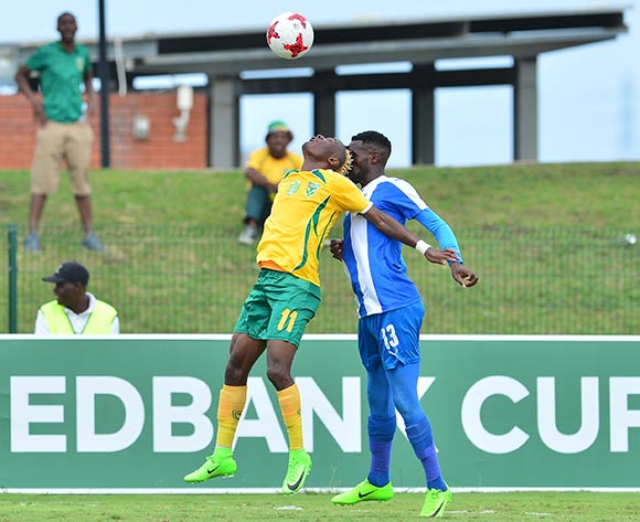 Kudakwashe Mahachi of Golden Arrows challenged by Fortune Makaringe of Maritzburg United during the 2017 Nedbank Cup match between Golden Arrows and Maritzburg United at the Prince Magogo Stadium, South Africa on 12 March 2017 ©Samuel Shivambu/BackpagePix