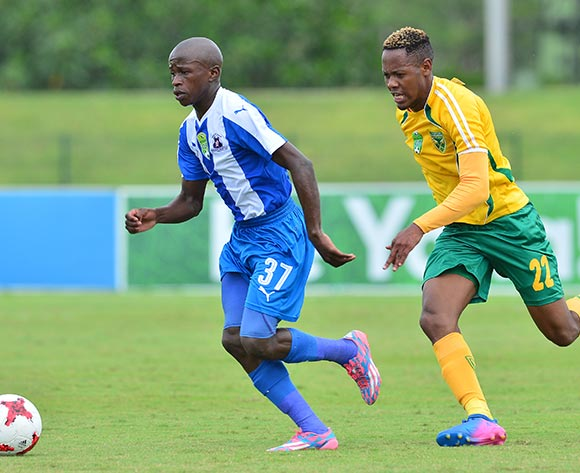 Siphesihle Ndlovu of Maritzburg United challenged by Sibusiso Sibeko of Golden Arrows during the 2017 Nedbank Cup match between Golden Arrows and Maritzburg United at the Prince Magogo Stadium, South Africa on 12 March 2017 ©Samuel Shivambu/BackpagePix