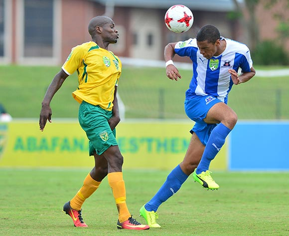 Lerato Lamola of Golden Arrows challenged by Bevan Fransman of Maritzburg United during the 2017 Nedbank Cup match between Golden Arrows and Maritzburg United at the Prince Magogo Stadium, South Africa on 12 March 2017 ©Samuel Shivambu/BackpagePix
