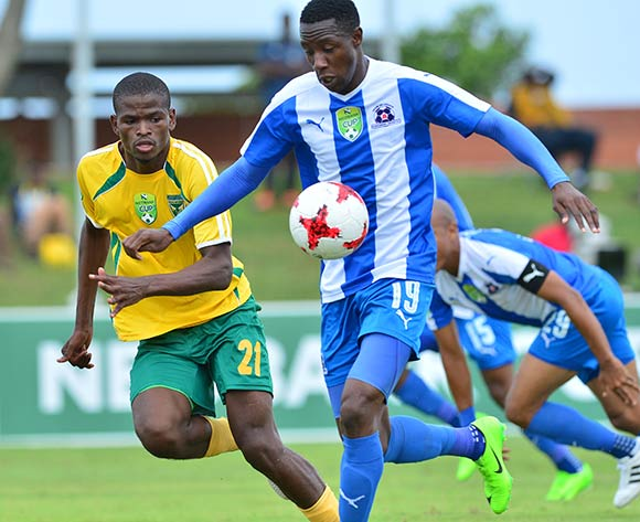 Evans Rusike of Maritzburg United challenged by Nkanyiso Mngwengwe of Golden Arrows during the 2017 Nedbank Cup match between Golden Arrows and Maritzburg United at the Prince Magogo Stadium, South Africa on 12 March 2017 ©Samuel Shivambu/BackpagePix