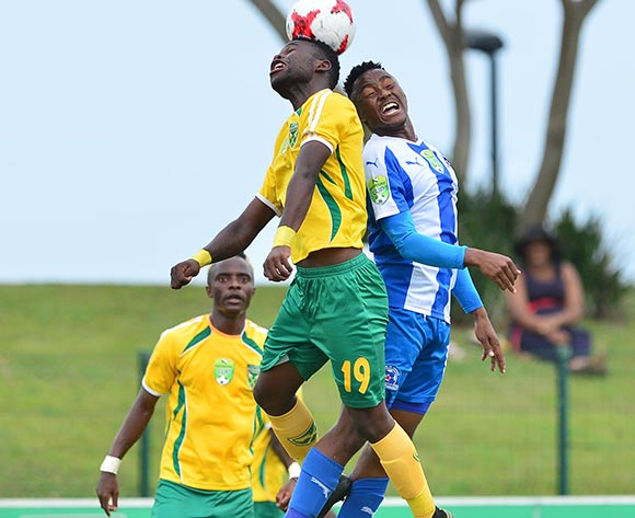 Knox Mutizwa of Golden Arrows challenged by Lebohang Maboe of Maritzburg United during the 2017 Nedbank Cup match between Golden Arrows and Maritzburg United at the Prince Magogo Stadium, South Africa on 12 March 2017 ©Samuel Shivambu/BackpagePix