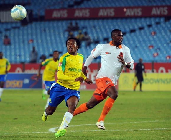 Percy Tau of Mamelodi Sundowns is challenged by Thapelo Tshilo of Polokwane City during the Absa Premiership match between Mamelodi Sundowns and Polokwane City  on the 14 March 2017 at Loftus Versfeld Stadium © Sydney Mahlangu/BackpagePix