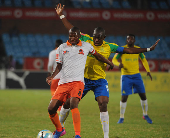Hlompho Kekana  of Mamelodi Sundowns challenges Jabulani Maluleke of Polokwane City during the Absa Premiership match between Mamelodi Sundowns and Polokwane City  on the 14 March 2017 at Loftus Versfeld Stadium © Sydney Mahlangu/BackpagePix