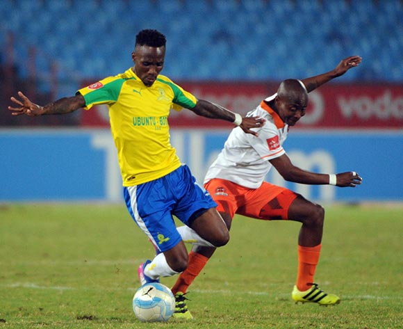 Sipho Jembula of Polokwane City challenges Teko Modise  during the Absa Premiership match between Mamelodi Sundowns and Polokwane City  on the 14 March 2017 at Loftus Versfeld Stadium © Sydney Mahlangu/BackpagePix