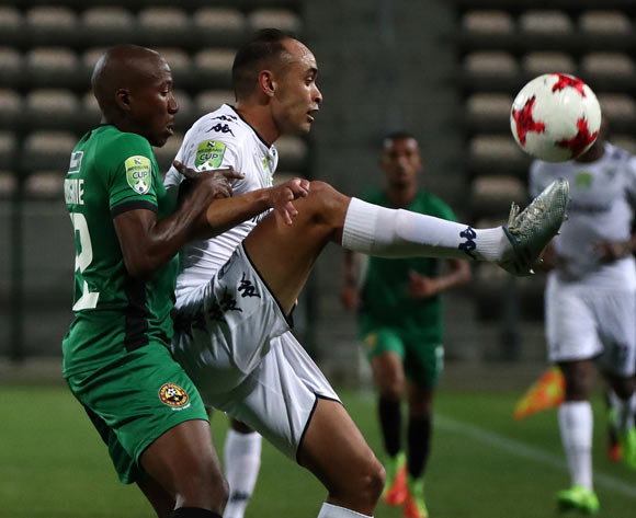 Eleazar Rodgers of Bidvest Wits evades challenge from Gerald Modisane of Cape Town All Stars during the 2017 Nedbank Cup Last 32 football match between Cape Town All Stars and Bidvest Wits at Athlone Stadium, Cape Town ©Chris Ricco/BackpagePix