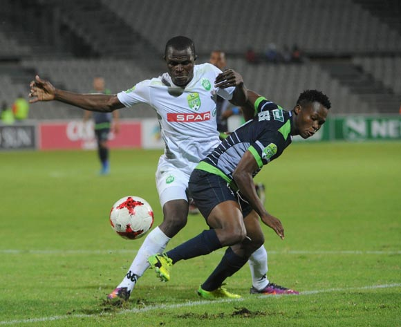 Kopamela Kodisang of Platinum Stars is tackled by Stephen  Mukatuka of AmaZulu during the Nedbank Cup Last 32 match between Platinum Stars and AmaZulu  on the 15 March 2017 at Moruleng Stadium © Sydney Mahlangu/BackpagePix