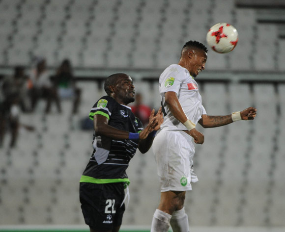 Robert Ngambi of Platinum Stars is challenged by Tumelo Letuka of AmaZulu during the Nedbank Cup Last 32 match between Platinum Stars and AmaZulu  on the 15 March 2017 at Moruleng Stadium © Sydney Mahlangu/BackpagePix