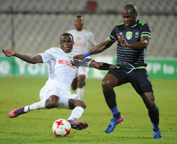 Bonginkosi Ntuli of Platinum Stars is tackled by Stephen Mukatuka of AmaZulu during the Nedbank Cup Last 32 match between Platinum Stars and AmaZulu  on the 15 March 2017 at Moruleng Stadium © Sydney Mahlangu/BackpagePix