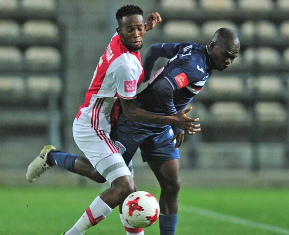 Mosa Lebusa of Ajax Cape Town and Sithembiso Dlamini of Free Stars Stars  battle for possession during the Absa Premiership 2016/17 game between Ajax Cape Town and Free State Stars at Athlone Stadium, Cape Town on 17 March 2017 ©Ryan Wilkisky/BackpagePix