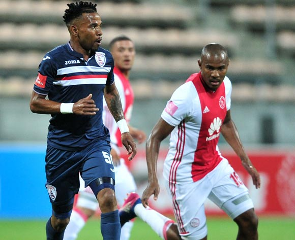 Nhlanhla Vilakazi of Free State Stars is closed down by Prince Nxumalo of Ajax Cape Town during the Absa Premiership 2016/17 game between Ajax Cape Town and Free State Stars at Athlone Stadium, Cape Town on 17 March 2017 ©Ryan Wilkisky/BackpagePix