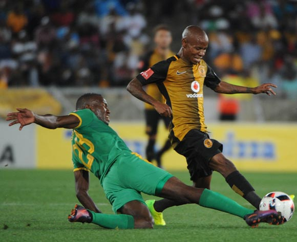 Joseph Molangoane of Kaizer Chiefs is challenged by Victor Letsoalo of Baroka FC during the Absa Premiership match between Baroka FC and Kaizer Chiefs  on the 18 March 2017 at Peter Mokaba Stadium  © Sydney Mahlangu/BackpagePix