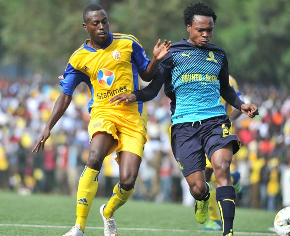 Brian Majwega of KCCA FC (Uganda) challenges Tau Percy of Mamelodi Sundowns FC (South Africa) during the 2017 Caf Champions League on 18 March 2017 at Philip Omondi Stadium, Lugogo, Kampala. ©Ismail Kezaala/BackpagePix