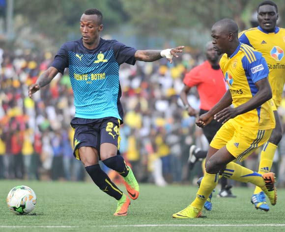 Habib Kavuma of KCCA FC (Uganda) challenges Zakri Yannick of Mamelodi Sundowns FC (South Africa) during the 2017 Caf Champions League on 18 March 2017 at Philip Omondi Stadium, Lugogo, Kampala. ©Ismail Kezaala/BackpagePix