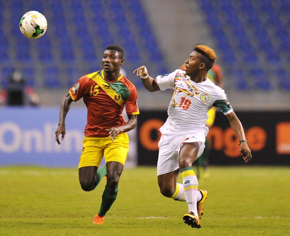 Cheikh Kane Bamba of Senegal challenged by Mamadou Kane of Guinea during the 2017 Total Zambia U-20 African Cup of Nations Zambia match between Senegal and Guinea at Levy Mwanawasa Stadium, Lusaka Zambia on 09 March 2017 ©Muzi Ntombela/BackpagePix