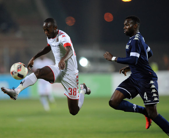 Peter Shalulile of Highlands Park is challenged by Bongani Khumalo of Bidvest Wits during the Absa Premiership match between Highlands Park and Bidvest Wits  on 28 April 2017 at Makhulong Stadium ©Sydney Mahlangu /BackpagePix