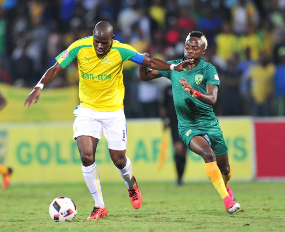 Hlompho Kekana of Mamelodi Sundowns challenged by Kudakwashe Mahachi of Golden Arrows during the Absa Premiership 2016/17 match between Golden Arrows and Mamelodi Sundowns at the Prince Magogo Stadium, South Africa on 28 April 2017 ©Samuel Shivambu/BackpagePix