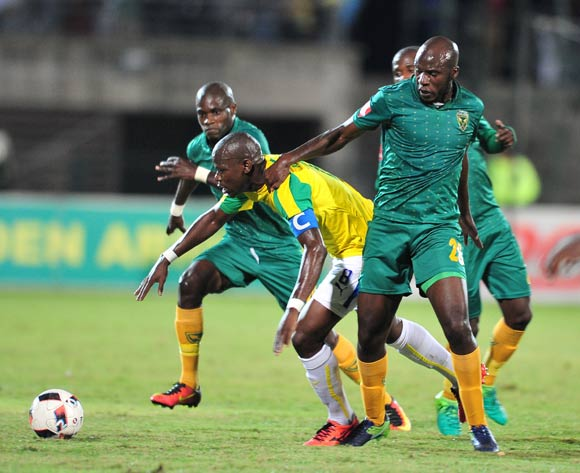 Hlompho Kekana of Mamelodi Sundowns challenged by Musa Bilankulu of Golden Arrows during the Absa Premiership 2016/17 match between Golden Arrows and Mamelodi Sundowns at the Prince Magogo Stadium, South Africa on 28 April 2017 ©Samuel Shivambu/BackpagePix