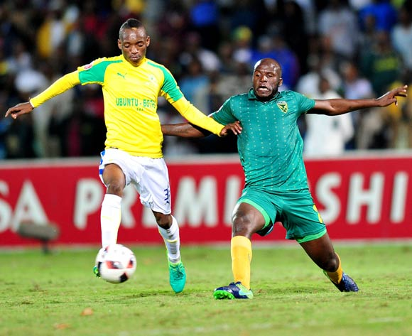 Khama Billiat of Mamelodi Sundowns challenged by Musa Bilankulu of Golden Arrows during the Absa Premiership 2016/17 match between Golden Arrows and Mamelodi Sundowns at the Prince Magogo Stadium, South Africa on 28 April 2017 ©Samuel Shivambu/BackpagePix