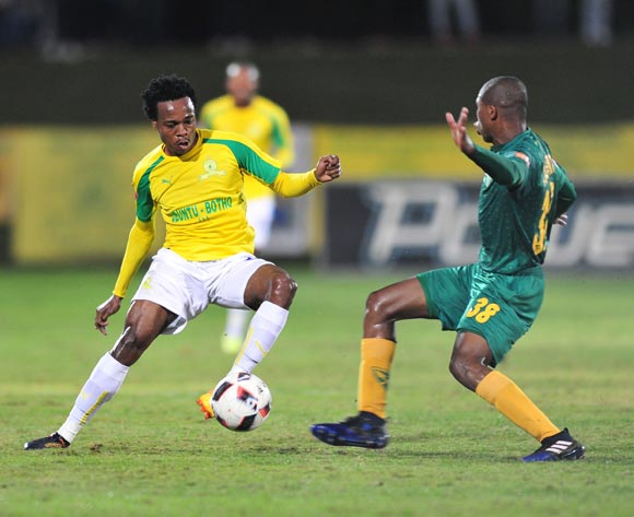 Percy Tau of Mamelodi Sundowns challenged by Romario Dlamini of Golden Arrows during the Absa Premiership 2016/17 match between Golden Arrows and Mamelodi Sundowns at the Prince Magogo Stadium, South Africa on 28 April 2017 ©Samuel Shivambu/BackpagePix