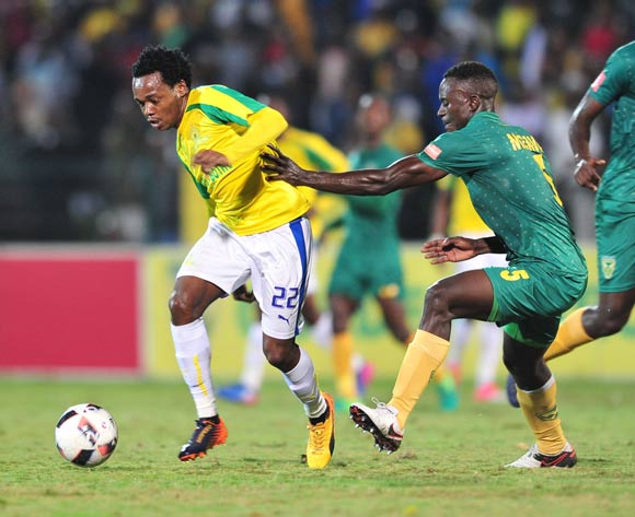 Percy Tau of Mamelodi Sundowns challenged by Limbikani Mzava of Golden Arrows during the Absa Premiership 2016/17 match between Golden Arrows and Mamelodi Sundowns at the Prince Magogo Stadium, South Africa on 28 April 2017 ©Samuel Shivambu/BackpagePix