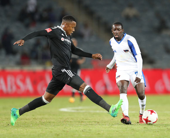 Zaphaniah Mbokoma of Chippa United (r) plays ball away from Happy Jele of Orlando Pirates during the 2016/17 Absa Premiership football match between Orlando Pirates and Chippa United at Orlando Stadium, Johannesburg on 29 April 2017 ©Gavin Barker/BackpagePix