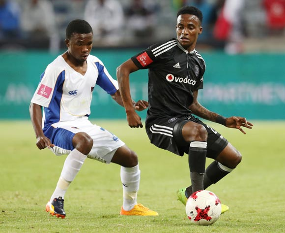 Thembinkosi Lorch of Orlando Pirates  (r) shields ball from Paseka Mako of Chippa United during the 2016/17 Absa Premiership football match between Orlando Pirates and Chippa United at Orlando Stadium, Johannesburg on 29 April 2017 ©Gavin Barker/BackpagePix