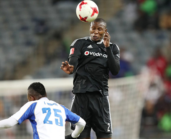 Ayanda Gcaba of Orlando Pirates wins header against Lerato Manzini of Chippa United  during the 2016/17 Absa Premiership football match between Orlando Pirates and Chippa United at Orlando Stadium, Johannesburg on 29 April 2017 ©Gavin Barker/BackpagePix
