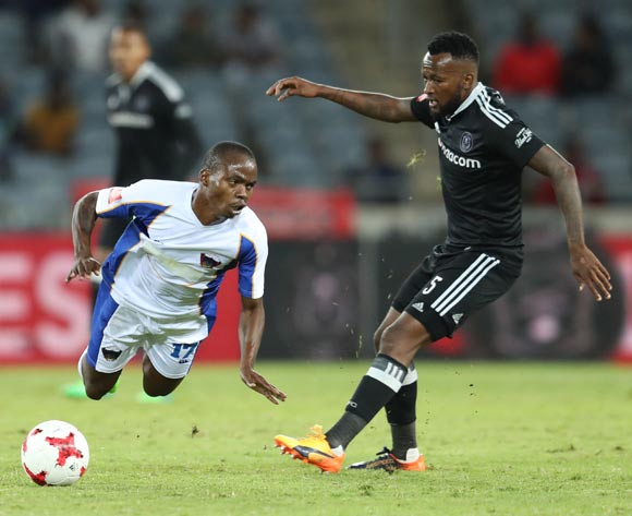 Mpho Makola of Orlando Pirates fouls Mpho Mvelase of Chippa United during the 2016/17 Absa Premiership football match between Orlando Pirates and Chippa United at Orlando Stadium, Johannesburg on 29 April 2017 ©Gavin Barker/BackpagePix