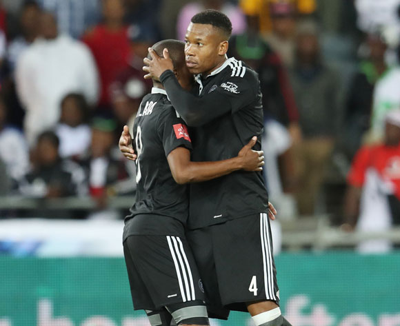 Thabo Matlaba of Orlando Pirates (l) embraced by Happy Jele after scoring during the  match between Orlando Pirates and Chippa United at Orlando Stadium, Johannesburg on 29 April 2017 ©Gavin Barker/BackpagePix