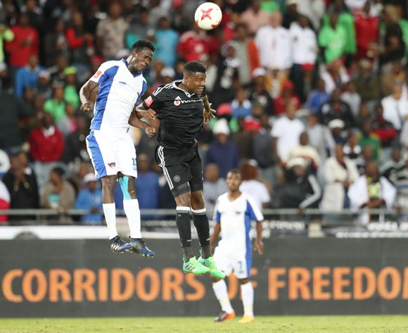 Thamsanqa Gabuza of Orlando Pirates and Justice Chabalala of Chippa United during the 2016/17 Absa Premiership football match between Orlando Pirates and Chippa United at Orlando Stadium, Johannesburg on 29 April 2017 ©Gavin Barker/BackpagePix
