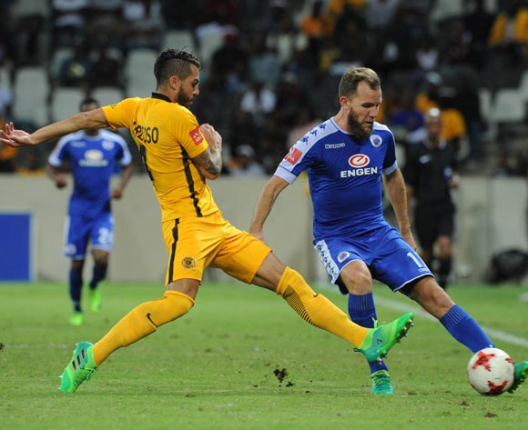 Jeremy Brockie of Supersport United is challenged by Daniel Cardoso of Kaizer Chiefs during the Absa Premiership match between Supersport United and Kaizer Chiefs on 29 April 2017 at Mbombela Stadium ©Sydney Mahlangu /BackpagePix