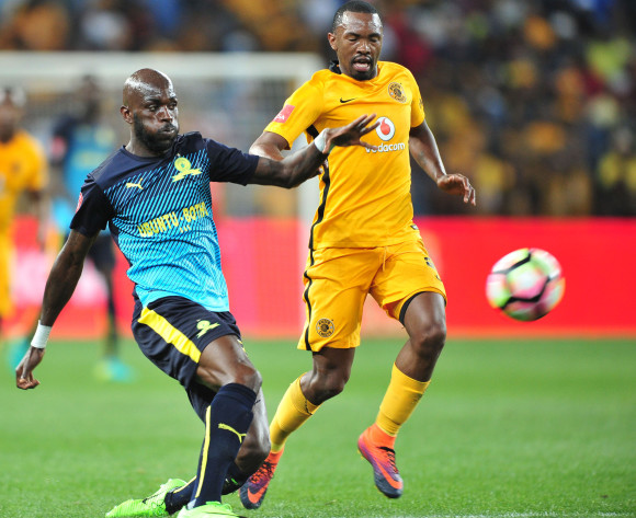 Anthony Laffor of Mamelodi Sundowns challenged by Bernard Parker of Kaizer Chiefs during the Absa Premiership 2016/17 match between Kaizer Chiefs and Mamelodi Sundowns at the FNB Stadium, South Africa on 01 April 2017 ©Samuel Shivambu/BackpagePix