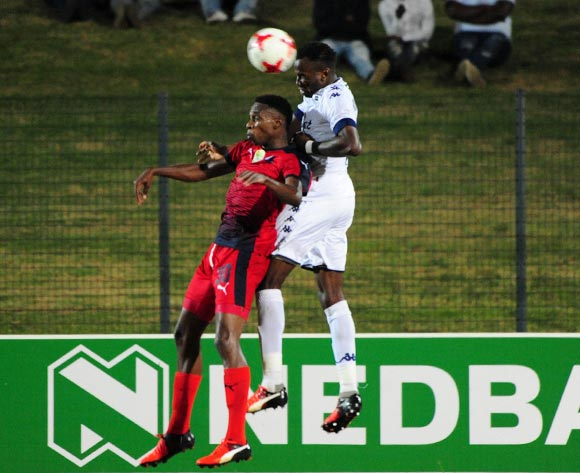 Mxolisi Macuphu of Jomo Cosmos challenged by Bongani Khumalo of Bidvest Wits during the Absa Premiership 2016/17 match between Jomo Cosmos and Bidvest Wits at Tsakane Stadium on 4 April 2017 ©Aubrey Kgakatsi/BackpagePix